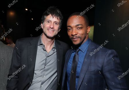 "Jamie Erlicht, Head of Worldwide Video, Apple, and Anthony Mackie attend Apple's ""The Banker"" premiere after party. ""The Banker"" opens in select theaters on March 6, before premiering globally on Apple TV+ on March 20."