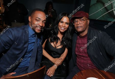 "Anthony Mackie, Nia Long and Samuel L. Jackson attend Apple's ""The Banker"" premiere after party. ""The Banker"" opens in select theaters on March 6, before premiering globally on Apple TV+ on March 20."