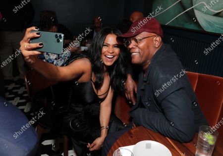 """MEMPHIS, TN - MARCH 2: Nia Long and Samuel L. Jackson attend Apple's """"The Banker"""" premiere after party. """"The Banker"""" opens in select theaters on March 6, before premiering globally on Apple TV+ on March 20."""