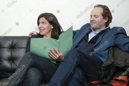 Anne Hidalgo and Jean-Marc Germain in her private room during the meeting 'La Planete en Commun'.