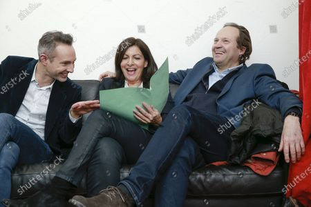 Ian Brossat, Anne Hidalgo and Jean-Marc Germain in her private room during the meeting 'La Planete en Commun'.