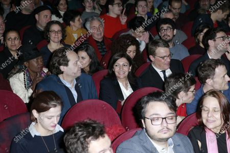 Jean-Marc Germain, Anne Hidalgo and Patrick Bloche are waits on the opening of the meeting on stage during the meeting 'La Planete en Commun'.