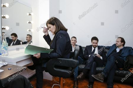 Stock Picture of Anne Hidalgo inside her private room, Ian Brossat, Patrick Klugman and Jean-Marc Germain in the backgroud during the meeting 'La Planete en Commun'.