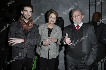 Alban Senault (translator for Luiz Inacio Lula da Silva), Dilma Rousseff and Luiz Inacio Lula da Silva during the meeting 'La Planete en Commun'.