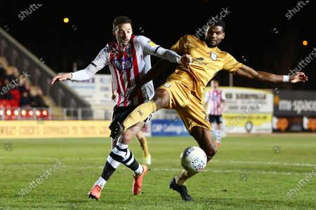 Aaron Martin of Exeter City and Michael Nottingham of Crewe Alexandra.