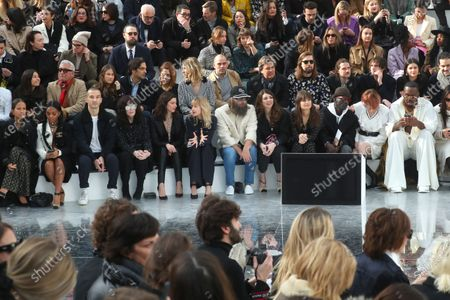 US singer Janelle Monae (2-L), French actress Isabelle Adjani (4-L), French actress Anna Mouglalis (5-L), Belgian singer Angele (6-L), French singer Sebastien Tellier (6-R), his wife Amandine de la Richardiere (5-R), French singer Clara Luciani (4-R) and French DJ Kiddy Smile (R) attend the presentation of the Fall-Winter 2020/21 Women's collection by French designer Virginie Viard for Chanel fashion house during the Paris Fashion Week, in Paris, France, 03 March 2020. The Fall-Winter 2020/21 women's collection runs from 24 February to 03 March 2020.