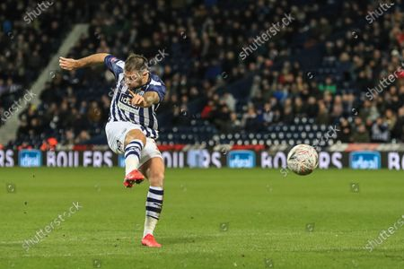 3rd March 2020, The Hawthorns, West Bromwich, England; Emirates FA Cup 5th Round, West Bromwich Albion v Newcastle United : Charlie Austin (15) of West Bromwich Albion shoots on goal and Ahmed Hegazi (26) of West Bromwich Albion puts it out for a corner