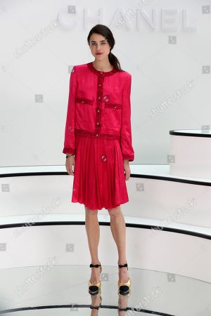 Actress and model Margaret Qualley poses before Chanel fashion collection during Women's fashion week Fall/Winter 2020/21 presented in Paris