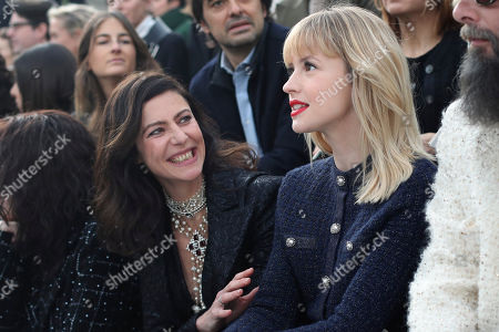 Singer Angele, right, and actress Anna Mouglalis attend Chanel fashion collection during Women's fashion week Fall/Winter 2020/21 presented in Paris