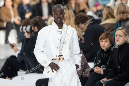 Adut Akech wears a creation for the Chanel fashion collection during Women's fashion week Fall/Winter 2020/21 presented in Paris
