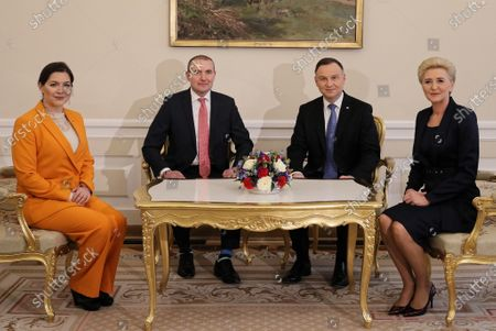 Polish President Andrzej Duda (2-R) and his wife Agata Kornhauser-Duda (R) meet with Icelandic President Gudni Thorlacius Johannesson (2-L) and his wife Eliza Jean Reid (L) at the Presidential Palace in Warsaw, Poland, 03 March 2020. Iceland's President Johannesson is on a three-day official visit to Poland.
