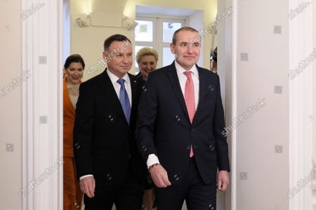 Polish President Andrzej Duda (2-L) and his wife Agata Kornhauser-Duda (2-R) walk along with Icelandic President Gudni Thorlacius Johannesson (R) and his wife Eliza Jean Reid (L) at the Presidential Palace in Warsaw, Poland, 03 March 2020. Iceland's President Johannesson is on a three-day official visit to Poland.