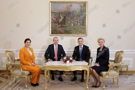 Polish President Andrzej Duda (2R) and his wife Agata Kornhauser-Duda (R) pose as they meet with Icelandic President Gudni Thorlacius Johannesson (2L) and his wife Eliza Jean Reid (L) during a ceremonial reception at the Presidential Palace in Warsaw, Poland, 03 March 2020. Iceland's President Johannesson is on an official visit to Poland.