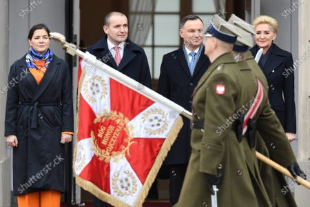Polish President Andrzej Duda (2R) and his wife Agata Kornhauser-Duda (R) meet with Icelandic President Gudni Thorlacius Johannesson (2L) and his wife Eliza Jean Reid (L) during a ceremonial reception at the Presidential Palace in Warsaw, Poland, 03 March 2020. Iceland's President Johannesson is on an official visit to Poland.