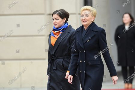 Agata Kornhauser-Duda (R), the spouse of Polish President Andrzej Duda (not pictured) walks alongside Eliza Jean Reid (L), the wife of Icelandic President Gudni Thorlacius Johannesson (not pictured) during a ceremonial reception at the Presidential Palace in Warsaw, Poland, 03 March 2020. Iceland's President Johannesson is on an official visit to Poland.