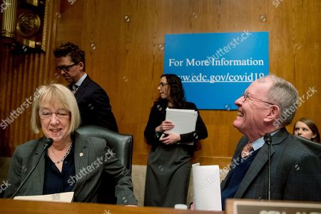 Lamar Alexander, Patty Murray. Chairman Lamar Alexander, R-Tenn., right, shares a laugh with Ranking Member Patty Murray, D-Wash., left, before hearing from Centers for Disease Control and Prevention Principal Deputy Director Anne Schuchat, National Institute for Allergy and Infectious Diseases Director Dr. Anthony Fauci, Health and Human Services Assistant Secretary for Preparedness and Response Dr. Robert Kadlec, and Food and Drug Administration Commissioner Dr. Stephen Hahn as they speak before a Senate Health, Education, Labor and Pensions Committee Hearing on the coronavirus on Capitol Hill, in Washington