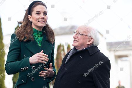 Catherine Duchess of Cambridge and Irish President Michael D. Higgins