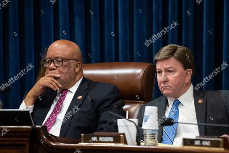 Bennie Thompson, Mike Rogers. House Committee on Homeland Security Chairman Bennie Thompson, of Miss., left, and ranking member Rep. Mike Rogers, R-Ala., listen as Acting Secretary of Homeland Security Chad Wolf testifies before a House Committee on Homeland Security hearing on the coronavirus and the FY2021 budget, in Washington