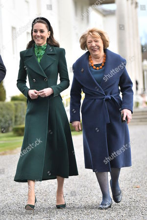 Catherine Duchess of Cambridge and Sabina Coyne are seen taking a walk during a meeting