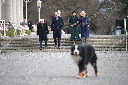 (L-R) President of Ireland Michael D. Higgins, Prince William, Catherine Duchess of Cambridge and Sabina Coyne are seen taking a walk