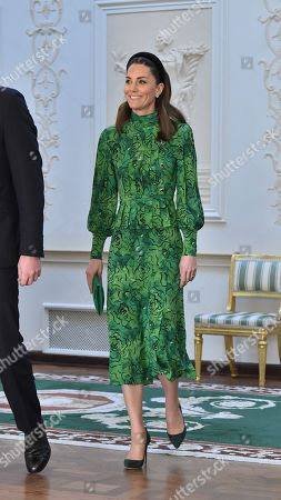 Catherine Duchess of Cambridge arrives for a meeting with the President of Ireland