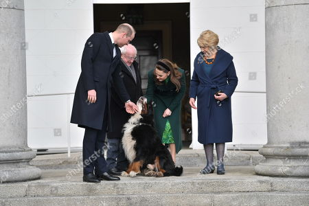 (L-R) Prince William, President of Ireland Michael D. Higgins, Catherine Duchess of Cambridge and Sabina Coyne pose during a meeting