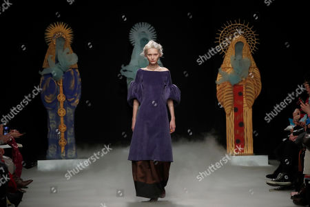 A model wears a creation for Junko Shimada fashion collection during Women's fashion week Fall/Winter 2020/21 presented in Paris