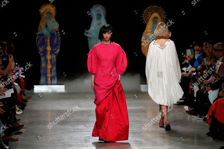 Stock Image of Models wear creations for Junko Shimada fashion collection during Women's fashion week Fall/Winter 2020/21 presented in Paris