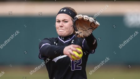 Stock Picture of Lipscomb's Megan Gray throws to a batter during an NCAA softball game against SIU Edwardsville, in Nashville, Tenn