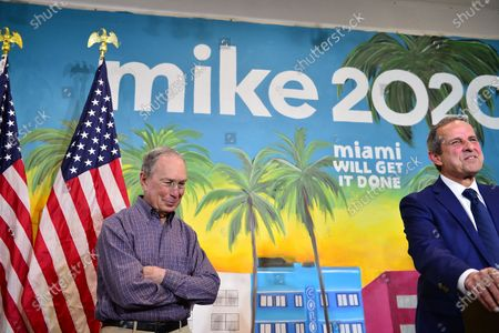 Democratic presidential candidate, former New York City mayor Michael Bloomberg and former Miami Mayor Manny Diaz (R) speaks to the media as Bloomberg makes a stop at one of his campaign offices in the Little Havana neighborhood in Miami, Florida. Bloomberg continues to campaign as voters cast their ballots in 14 states and American Samoa on what is known as Super Tuesday, 3 Mar 2020