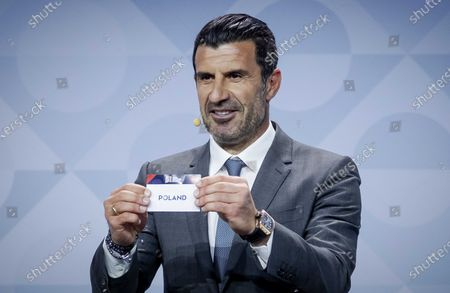 Former Portuguese soccer player Luis Figo shows the lot of Poland during the UEFA Nations League 2020-21 Draw for the League A in Amsterdam, The Netherlands, 03 March 2020.