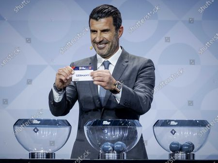 Former Portuguese soccer player Luis Figo shows the lot of Germany during the UEFA Nations League 2020-21 Draw for the League A in Amsterdam, The Netherlands, 03 March 2020.