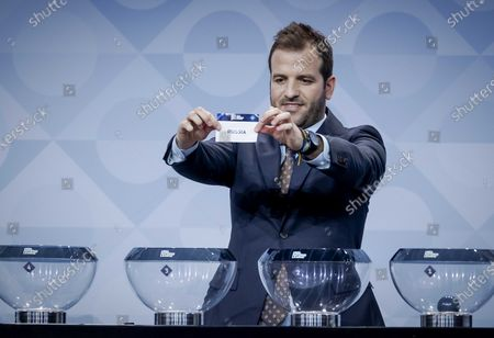 Former Dutch player Rafael van der Vaart shows the lot of Russia during the UEFA Nations League 2020-21 Draw for the League A in Amsterdam, The Netherlands, 03 March 2020.