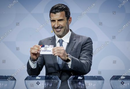 Stock Image of Former Portuguese soccer player Luis Figo shows the lot of Portugal during the UEFA Nations League 2020-21 Draw for the League A in Amsterdam, The Netherlands, 03 March 2020.