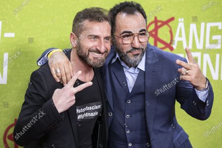 Actors and cast members Tim Seyfi (L) and Adnan Maral (R) pose for photographers on the red carpet during the world premiere of the movie Die Kaenguru-Chroniken (lit. The Kangaroo Chronicles) at the ZOO Palast in Berlin, Germany, 03 March, 2020. The comedy film is based on the books and audio-books by Marc-Uwe Kling, and will be played in theaters from 05 March 2020.