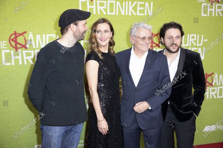 Stock Picture of Creator and screenwriter Marc-Uwe Kling ,German actress and cast member Bettina Lamprecht, German actor and cast member Henry Huebchen, Actor and cast member Dimitrij Schaad pose for photographers on the red carpet during the world premiere of the movie Die Kaenguru-Chroniken (lit. The Kangaroo Chronicles) at the ZOO Palast in Berlin, Germany, 03 March, 2020. The comedy film is based on the books and audio-books by Marc-Uwe Kling, and will be played in theaters from 05 March 2020.