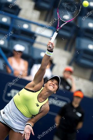 British Heather Watson serves a ball to German Tatjana Maria during the second day of Monterrey Tennis Open, in Monterrey, Mexico, 03 March 2020.