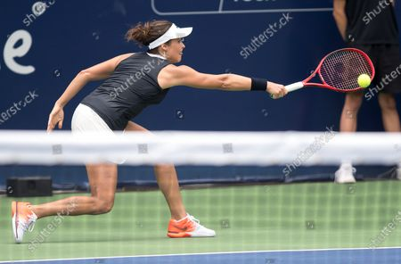 German Tatjana Maria returns a ball to British Heather Watson during the second day of Monterrey Tennis Open, in Monterrey, Mexico, 03 March 2020.