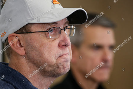 Putnam County mayor Randy Porter pauses during a press conference, in Cookeville, Tenn. after a question was asked after a tornado hit on Monday night