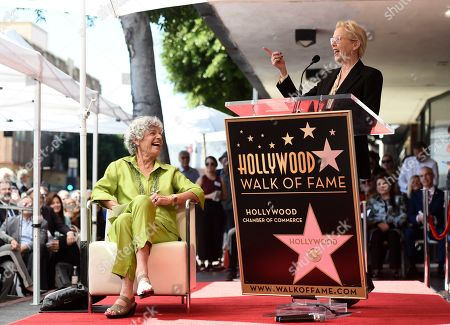 Susan Stamberg, Annette Bening. National Public Radio broadcast journalist Susan Stamberg, left, reacts to remarks by actress Annette Bening during a ceremony honoring Stamberg with a star on the Hollywood Walk of Fame, in Los Angeles