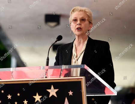 Actress and guest speaker Annette Bening addresses the audience during a ceremony to award National Public Radio broadcast journalist Susan Stamberg a star on the Hollywood Walk of Fame, in Los Angeles