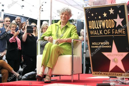 US radio host Susan Stamberg (R) is filmed by US actress Gabrielle Carteris (L) at a ceremony honoring Susan Stamberg with the 2690th star on the Hollywood Walk of Fame in Los Angeles, California, USA, 24 February 2020. The star is dedicated in the category of Radio.