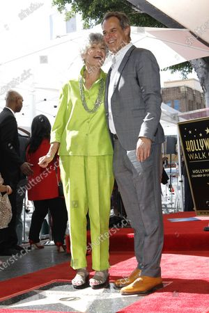 Stock Picture of US radio host Susan Stamberg and her son US actor Josh Stamberg at a ceremony honoring Susan Stamberg with the 2690th star on the Hollywood Walk of Fame in Los Angeles, California, USA, 24 February 2020. The star is dedicated in the category of Radio.