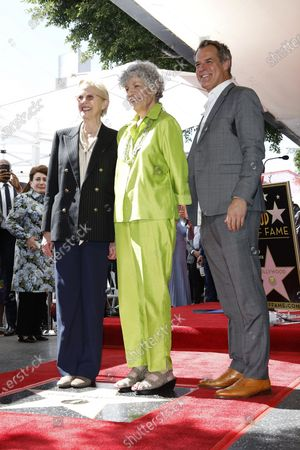 (L-R) US actress Annette Bening, US radio host Susan Stamberg and US actor Josh Stamberg at a ceremony honoring Susan Stamberg with the 2690th star on the Hollywood Walk of Fame in Los Angeles, California, USA, 24 February 2020. The star is dedicated in the category of Radio.
