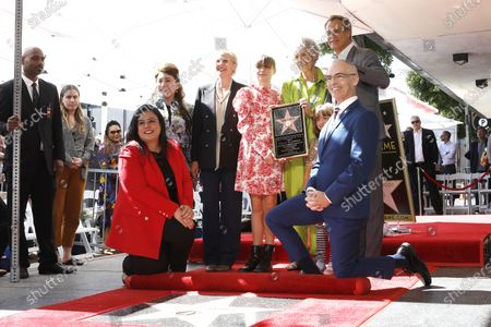 Stock Image of (L-R) Rana Ghadban, Donelle Dadigan, Annette Bening, Vivian Stamberg, Susan Stamberg, Josh Stamberg and Mitch O'Farrell unveil the star at a ceremony honoring Susan Stamberg with the 2690th star on the Hollywood Walk of Fame in Los Angeles, California, USA, 03 March 2020. The star is dedicated in the category of Radio.