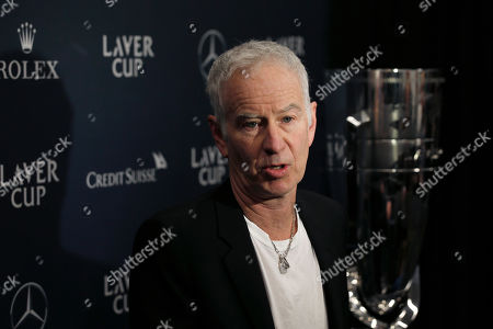 John McEnroe, Captain of Team World for the Laver Cup, speaks during a news conference at TD Garden, in Boston. Laver Cup 2020 will be played at the TD Garden in Boston from September 25-27