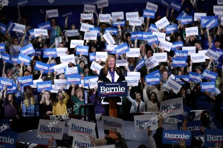 Stock Picture of Jane O'Meara Sanders speaks before her husband Democratic presidential candidate Sen. Bernie Sanders, I-Vt., during a primary night election rally in Essex Junction, Vt