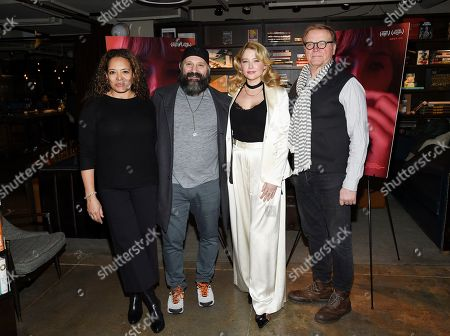 "Stock Photo of Luna Lauren Velez, Laith Nakli, Haley Bennett, David Rasche. Actors Luna Lauren Velez, left, Laith Nakli, Haley Bennett and David Rasche pose together at a special screening of ""Swallow"" at NeueHouse Madison Square, in New York"