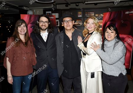 """Mollye Asher, Carlo Mirabella-Davis, Joe Wright, Haley Bennett, Mynette Louie. Producer Mollye Asher, left, director Carlo Mirabella-Davis, executive producer Joe Wright, actress Haley Bennett and producer Mynette Louie pose together at a special screening of """"Swallow"""" at NeueHouse Madison Square, in New York"""