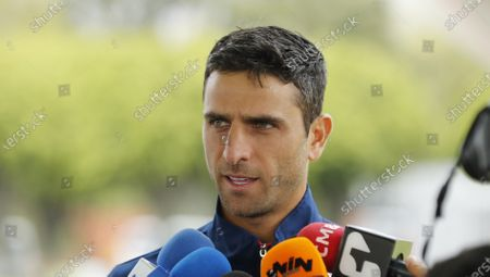 Colombian tennis player Robert Farah speaks during a press conference in Bogota, Colombia, 03 March 2020. Farah, number one in the ATP doubles classification, stated that he is ready to face Argentina in the Davis Cup finals series after returning to competition after almost two months of absence due to investigations into doping allegations.